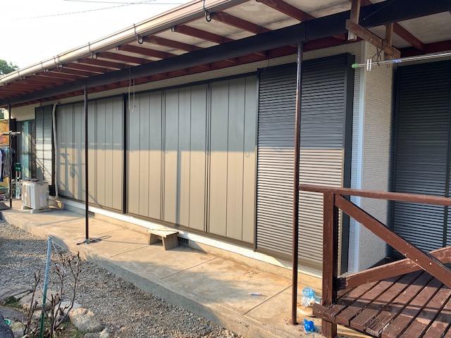 福岡トーヨー 大牟田店の台風対応 雨戸サッシ取替の施工事例写真