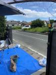 福岡トーヨー 大牟田店の車庫の4枚折れ戸門扉の取付の施工前の写真1